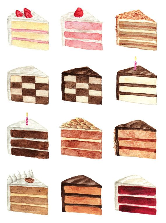 Cake Slice Flavors Menu Watercolor Chart by LauraRowStudio on Etsy