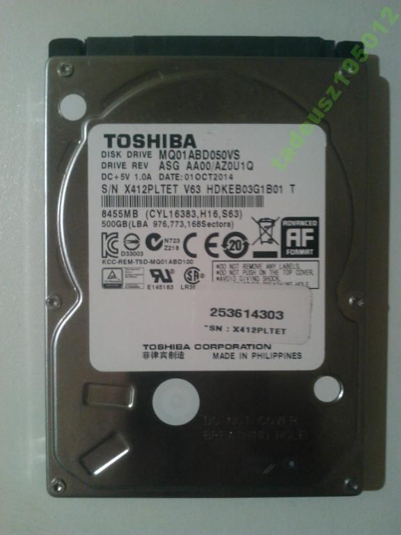 DYSK TWARDY TOSHIBA 500 GB