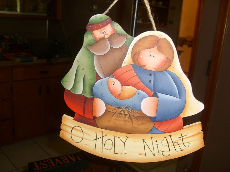 OH Holy Night Hand Painted Wood Sign, Christmas, Home Decor, DAWN.