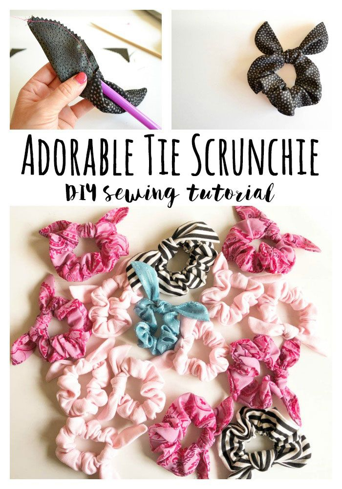Sew A Cute Tie Scrunchie Diy Sewing Tutorial Sewing Projects