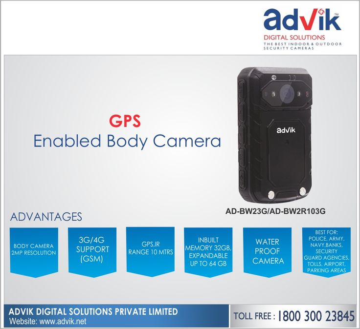 GPS Enabled Body Camera!!! Advik's #BodyCamera is equipped with built-in GPS, Global Positioning System. This makes it easy for #security teams to keep track of their personnel. Further, it ensures the safety of not only the person wearing the camera but also enhances the strategic security of common man. Key features include; 3G/4G support, IP66 weatherproof rating, 2 MP high resolution #camera, 7 hours continuous operational time and inbuilt memory of 32 GB. It is the best camera for…