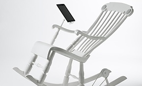 iRock, a rocking chair with speakers that charges your devices.