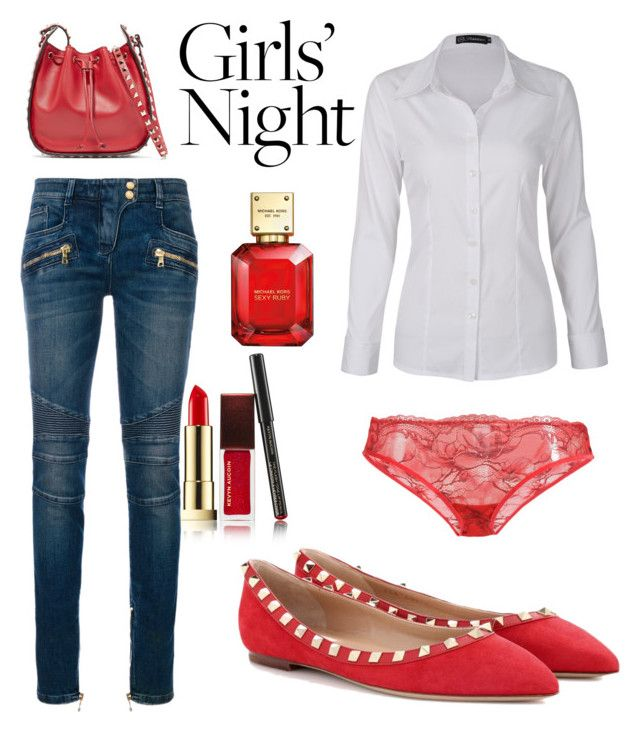 """contest: girl's night out"" by dtlpinn on Polyvore featuring Kevyn Aucoin, Balmain, Valentino, Michael Kors and Calvin Klein Underwear"