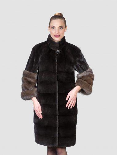 Черные пальто шерсти норки соболевую Рукав концовок