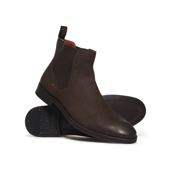 Superdry Meteora Chelsea Boots (260 BRL) ❤ liked on Polyvore featuring men's fashion, men's shoes, men's boots, brown, mens distressed leather shoes, mens leather sole boots, mens brown chelsea boots, men's vintage shoes and mens chelsea boots