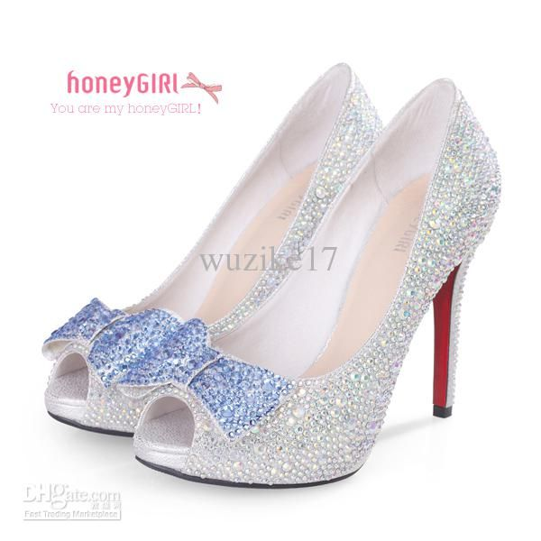 Wholesale Bridal Shoes - Buy 2013 New High Heel Peep Toe With Rhinestone Bow-knot Wedding/ Party Shoes, $106.82 | DHgate