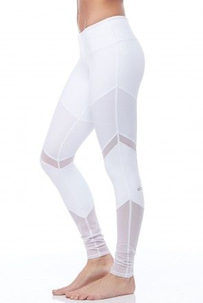 Alo Yoga Sheila Legging in White and White Glossy