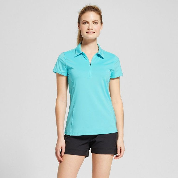 Women's Zip Up Golf Polo T-Shirt - Turquoise Waters Xxl - C9 Champion