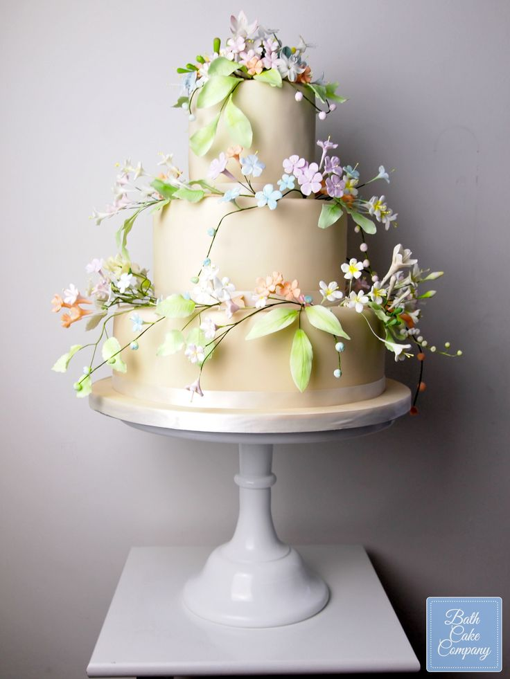 Pastel Wedding Cake Decorated With Handmade Wired Sugar Flowers By Bath Cake Company