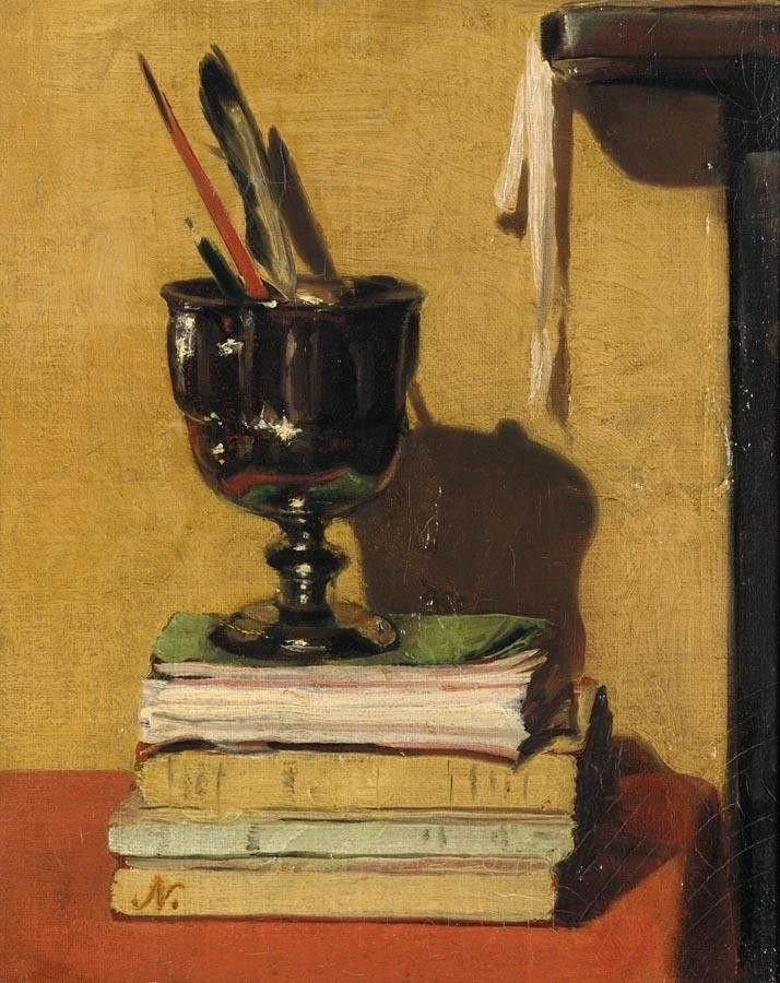 SIR WILLIAM NICHOLSON 1872-1949 VASE AND BOOKS ON A RED TABLE. #reading #books