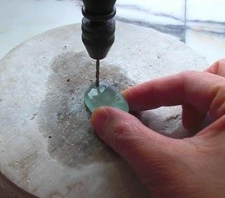 Drilling through sea glass