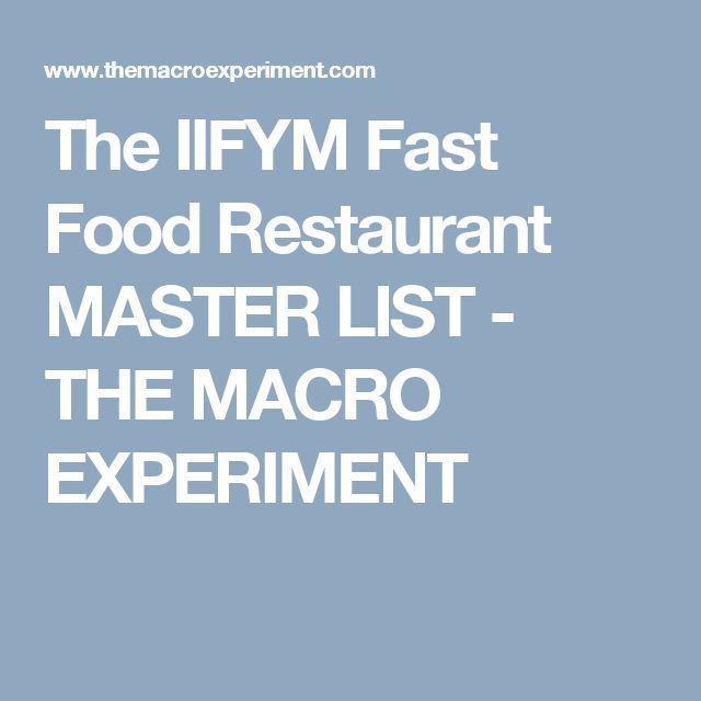 The IIFYM Fast Food Restaurant MASTER LIST - THE MACRO EXPERIMENT