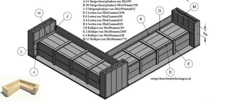 Gratis bouwtekening met zaaglijst om een hoekbank te maken van steigerhout.