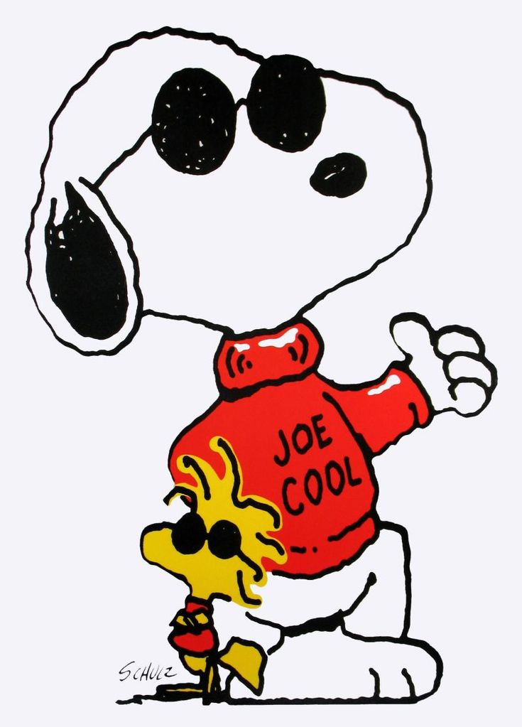 """joe cool - there's no one cooler than Snoopy.  But my daughter said it best.  """"What's the deal with Woodstock?"""""""