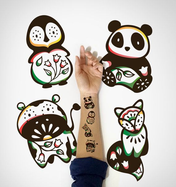4 in 1 set  Kids Temporary Tattoo Fox Penguin by EasternCloud