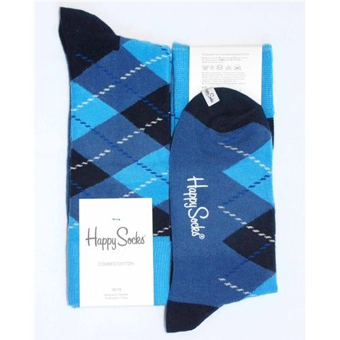 Mens Dress Sock - Happy Socks - Various-Blues Diamond Argyle