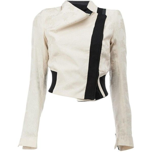Ann Demeulemeester cropped biker jacket (€900) ❤ liked on Polyvore  featuring outerwear 4ea0e6ce0