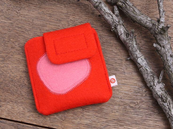 """iPod nano Tasche """"Rot + rosa Punkt"""" von blandine taschen  auf DaWanda.com"""