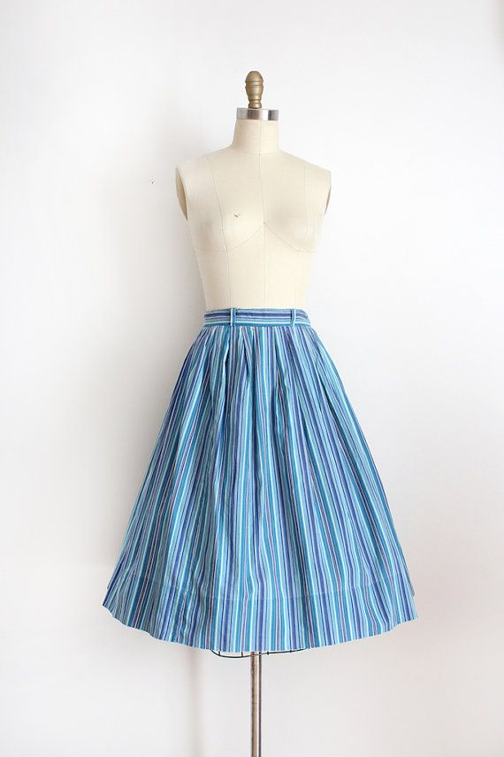 vintage 1950s skirt // 50s blue cotton skirt