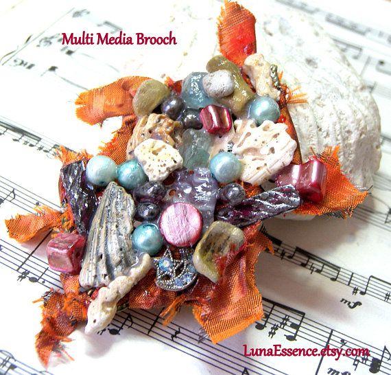 Bohemian Fabric Brooch Assemblage Brooch Sea Shell Brooch Moon