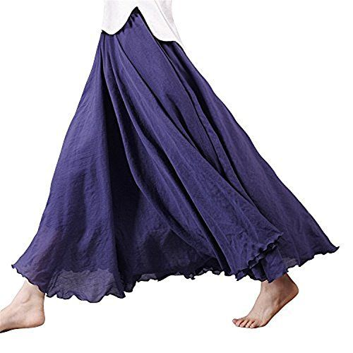 Derek Mos Womens special Style Elastic Waist Band Cotton Linen Long Maxi Skirt Dress 95CM Navy Blue >>> Want additional info? Click on the image.