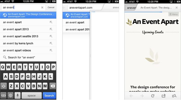 Google iOS app transitions