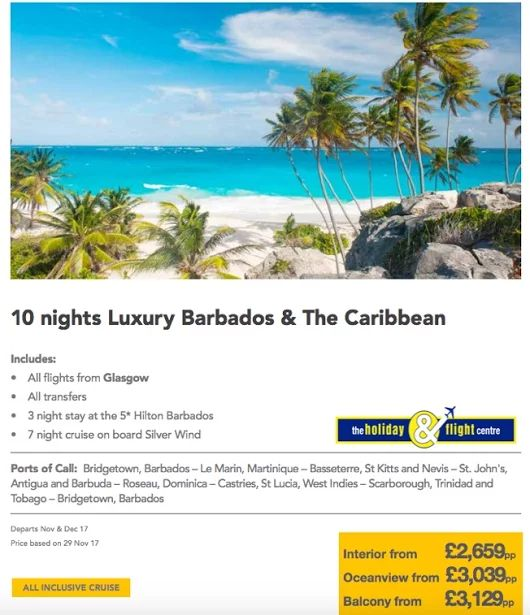 Cruise & Stay Caribbean and Barbados  Silversea  See more cruise offers here....  https://plus.google.com/u/0/b/117155539269047519956/collection/0so0NE