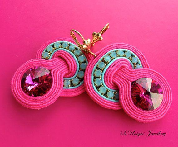 Fuchsia Soutache earrings.Pink Crystal by SouniqueJewellery