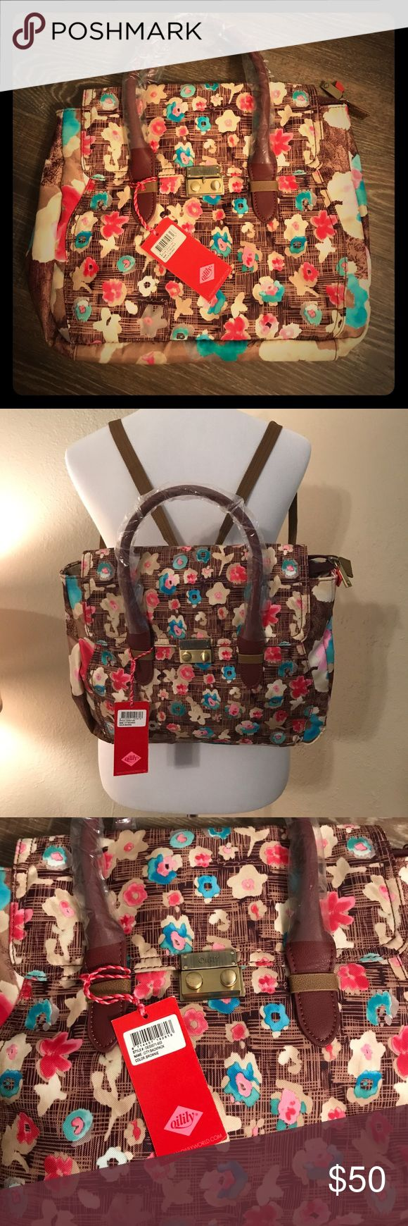 So versatile Oilily handbag/backpack! ADORABLE Oilily handback with handles, shoulder strap and backpack straps. Clasp to keep bag closed. So versatile and so perfect for any occasion! 3 inside pockets- 1 is zippered. NWT in perfect condition. This bag is too cute!! 🎉 Oilily Bags