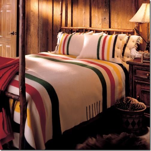for the guest room Cosy Northern Ontario Canadiana style...those distinguishable stripes...so very Canadian!