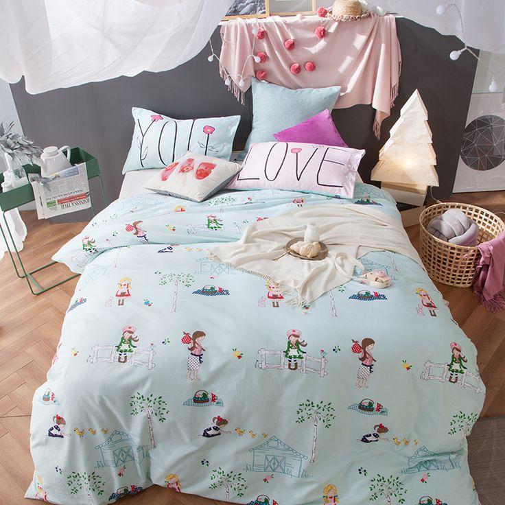 Aoguhome Store Girls Bedding Set Queen Size Reactive Print Kids Bedding  Pillowcases Coverlet Light Blue Duvet