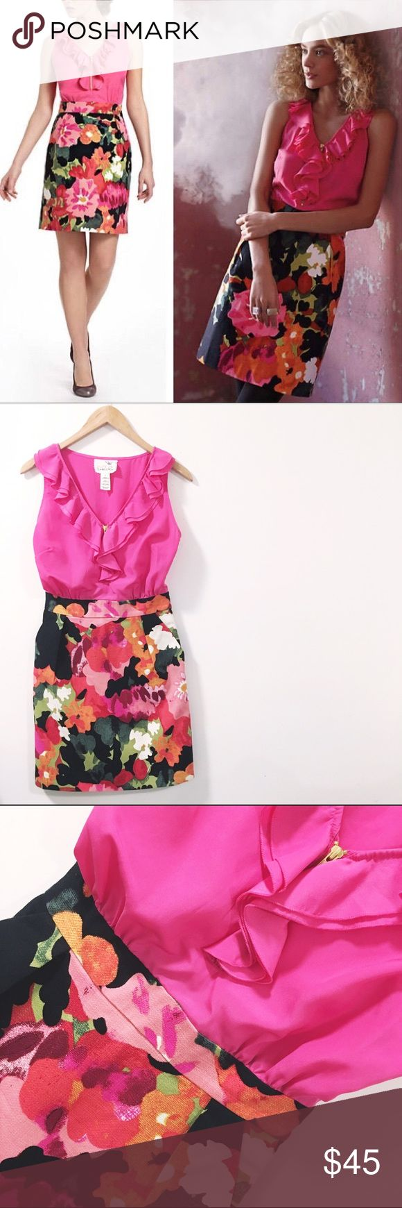 🌸🌺 Anthro Tabitha Great Escape Dress 🌺🌸 Tabitha never disappoints! Ruffles are in right now! Love love love the color and floral pattern in the skirt. You'll definitely stand out in this beauty 😍 This item has never been worn and so it's NWOT!   💁🏾✨Happy Poshing!  🌟 Suggested User 🌟 🙋🏾 Top 10% Sharer/Mentor ⭐️⭐️⭐️⭐️⭐️ 5 star Gal 📫 Fast Shipper!  Ships Same/Next Day📦  🏡 Odor Free 🐩 Pet Free 🚫 PayPal/Trade/low ball offers Anthropologie Dresses Midi