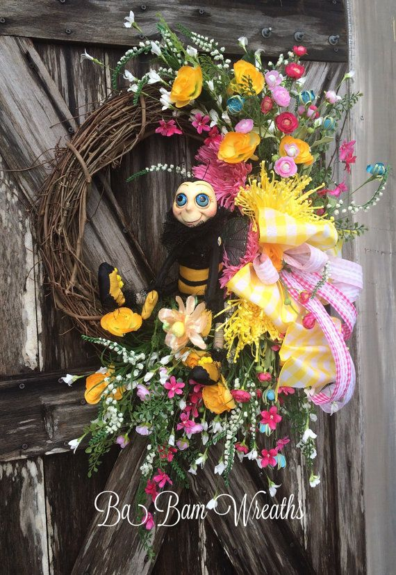 Bee Wreath Decor Summer Spring By BaBamWreaths
