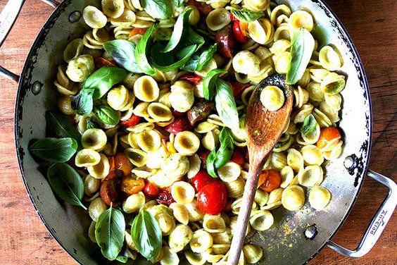 Orecchiette with Sautéed Cherry Tomatoes, Mozzarella and Basil Pesto, a recipe on Food52
