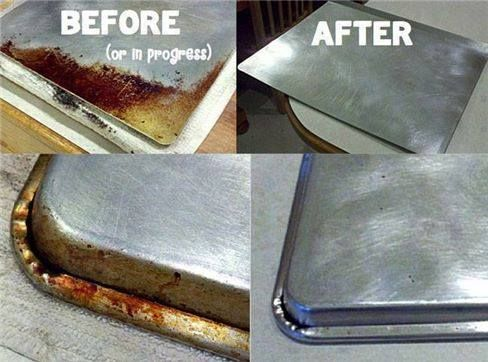 "FINALLY...HERE IT IS! How to clean your cookie sheets--Kitchen ""Miracle"" Cleaner! You put about 1/4 cup of baking soda in a small glass bowl and squirt in hydrogen peroxide until it makes a nice paste. Then you rub it on the offending dirt/stain/grease...whatever! You can usually just use your fingers...but you can also use a small sponge as well."