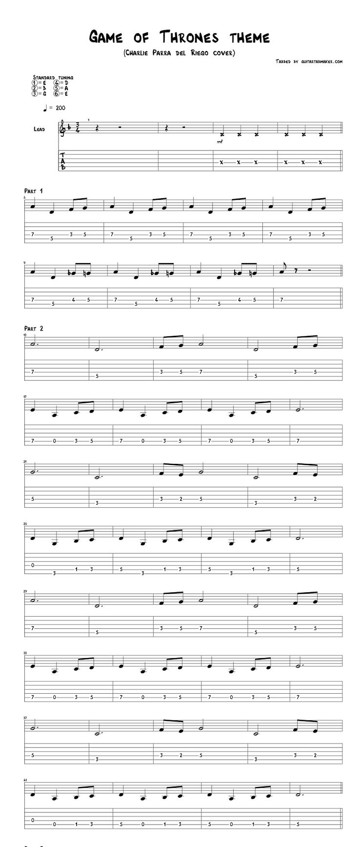 Best 25 guitar tabs ideas on pinterest guitar chords guitar game of thrones theme song guitar tab acoustic guitar cover by charlie parra del riego hexwebz Images