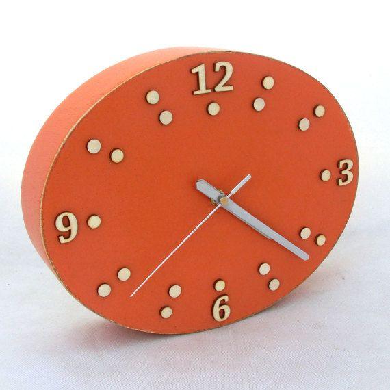 FREE SHIPPING Wall Clock Orange Wood clock ellipse Unique