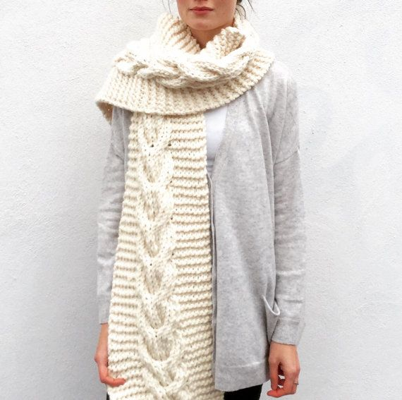 NEW Chunky Cream scarf/Cable/Anelle/ Extra long by ClaireDAlbert