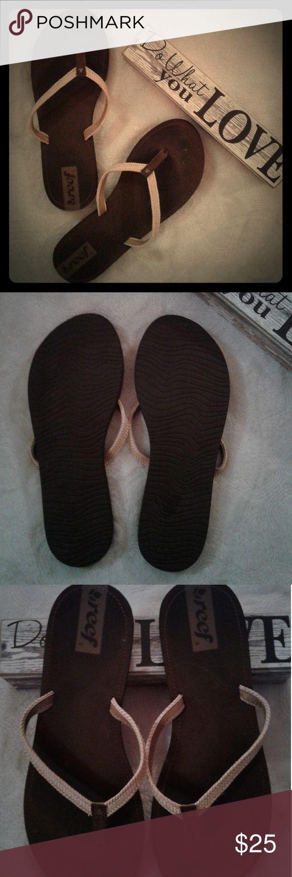 REEF Women's Flip Flops, 8, Brown, Tan REEF Women's Flip Flops, 8, Brown, Tan  Worn only several times. Reef Shoes Sandals