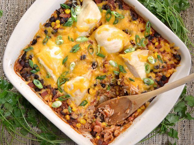 Salsa Chicken Casserole bakes in one dish for a easy, mess-free weeknight dinner with a LOT of flavor! Step by step photos.