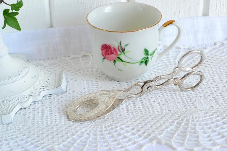 Cookie tongs ornate wedding table settings vintage Swedish silver plate. $26.00, via Etsy.