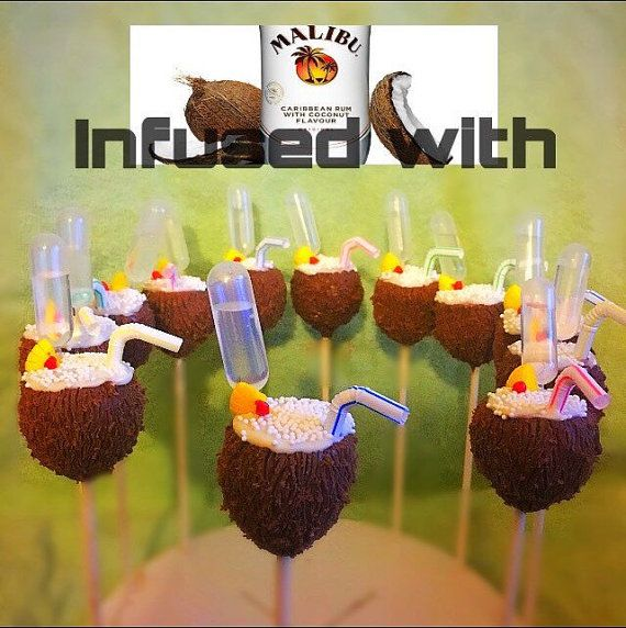 Dozen Pina Colada Coconut Drink Cake Pops Infused With Malibu Rum Tiki Luau Party Adult BBQ Birthday Party Favors Girls Night Dessert