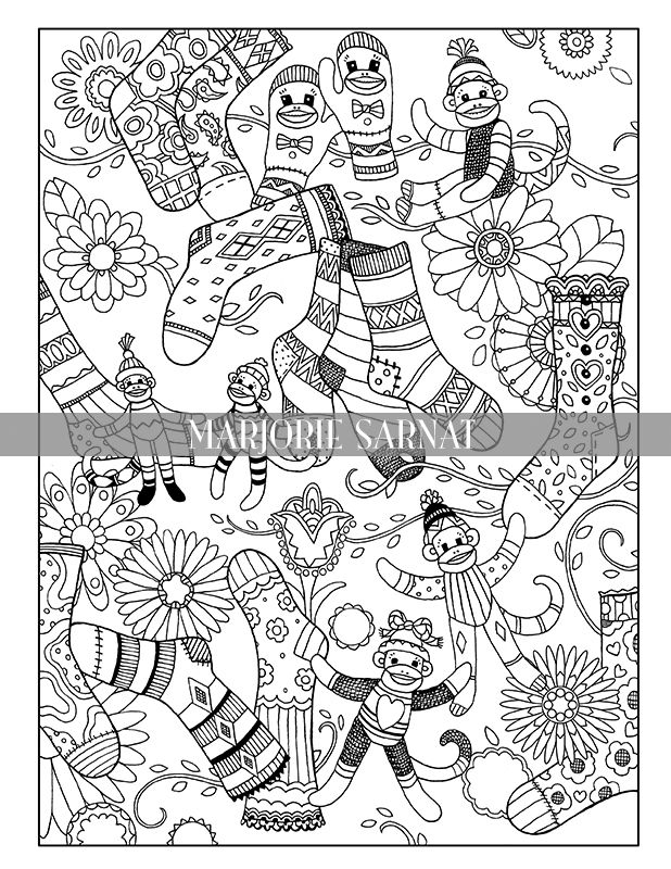 Sock Monkey Christmas Marjorie Sarnat Design Illustration Fashion Coloring Book Coloring Books Coloring Pages