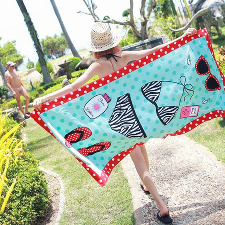 Urijk 1PC Microfiber Fabric Beach Bath Towels Bikini Printed Quick-Dry Large Rectangle Beach Towel for Adults Swimming Towels