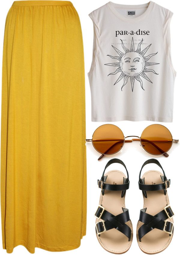 I like the idea of this, mainly because of the maxi skirt. I hate the shoes and sun glasses. I'd like to wear a skirt like that, but have a hard time with my height.