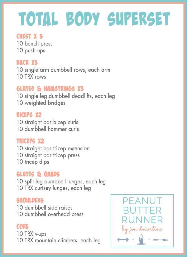 Peanut Butter Runner Total Body Superset Workout