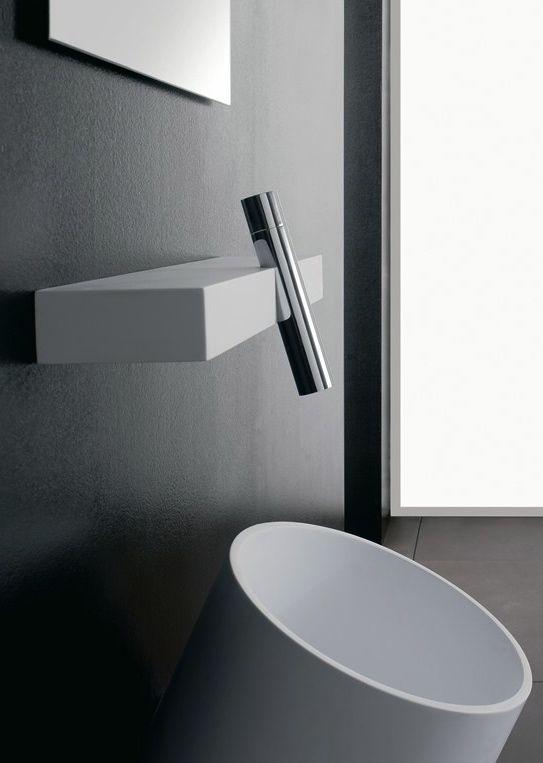 Rubinetterie 3M | wall mounted BLOK mixer | Minimal Living Style | Modern Minimalist Bathroom Interiors | Contemporary Decor Design #inspiration #nakedstyle