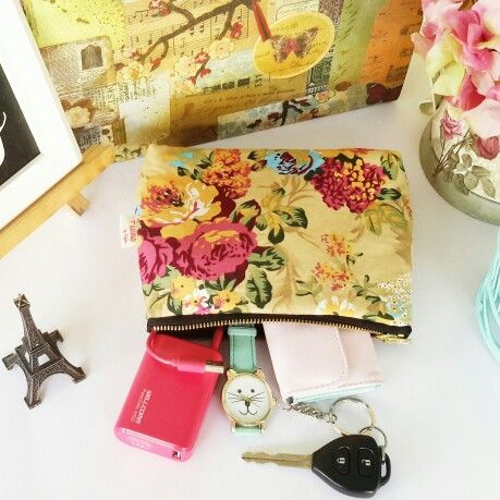 Handmade floral pouch