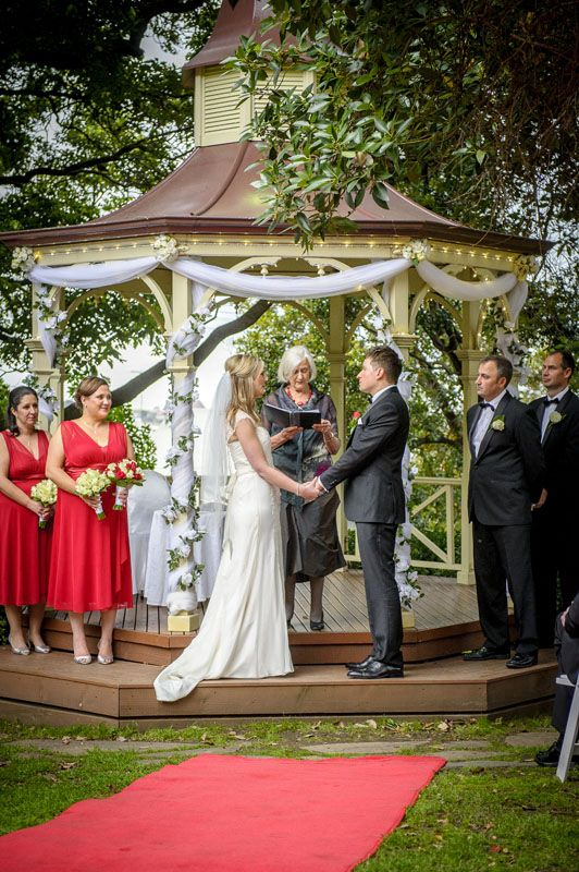 Bree, Glen and their wedding party during the ceremony at Ascot House.  Photographed by Marc Grist Photography #wedding #weddingphotography #weddingparty #groupshot #marcgristphotography.