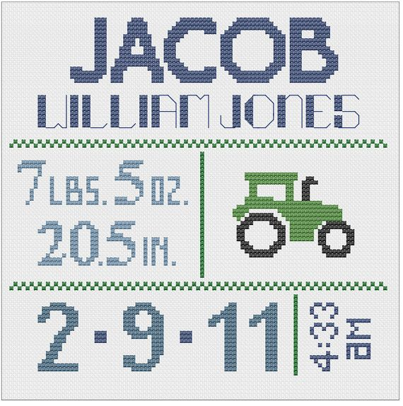 Customized Cross Stitch for Baby Pattern by piecesofcandycrafts... I wonder if Mimz can still do this!